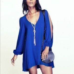 Lovers + Friends Blue Cold Shoulder Dress Long